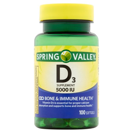 Spring Valley Vitamin D3 Softgels, 5000 IU, 100 Ct