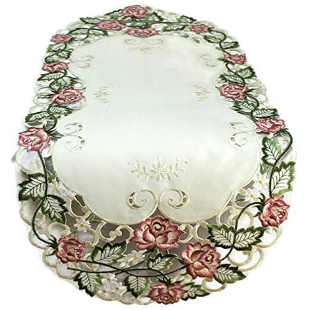 Doily Boutique Table Runner Embroidered with Victorian Pink Roses on Ivory Fabric, Size 34 x 14