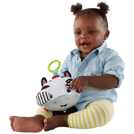 Fisher-Price Peek-a-boo Giggles Roscoe Baby Toy, Sweet, soft & oh-so-huggable plush zebra toy By FisherPrice