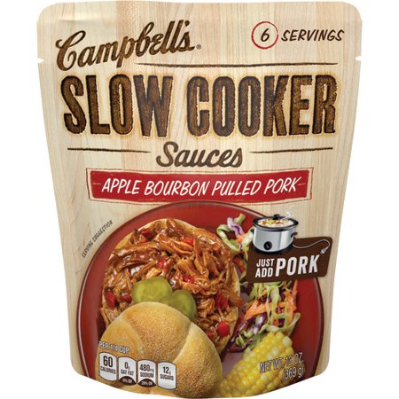(3 Pack) Campbell's Slow Cooker Sauces Apple Bourbon Pulled Pork, 13 oz.