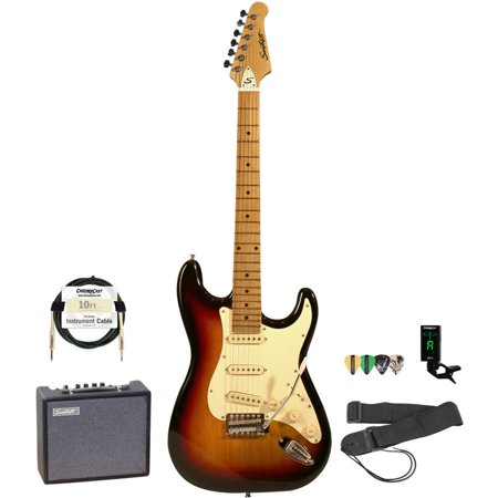Music Man Guitar Amps - Sawtooth ET Series Left-Handed Electric Guitar with Sawtooth 10 Watt Amp and ChromaCast Accessory Bundle, Candy Apple Red with Pearl White Pickguard