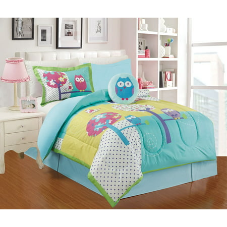 Peace Owl - All American Collection 4 Piece Twin Size Owl Comforter Set with Bed-skirt