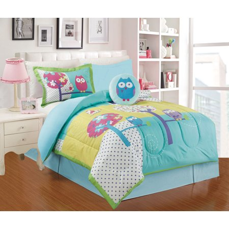 All American Collection 4 Piece Twin Size Owl Comforter