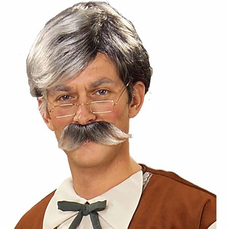 Geppetto Wig and Moustache Grey Adult Halloween Costume - Grey Costume Wig