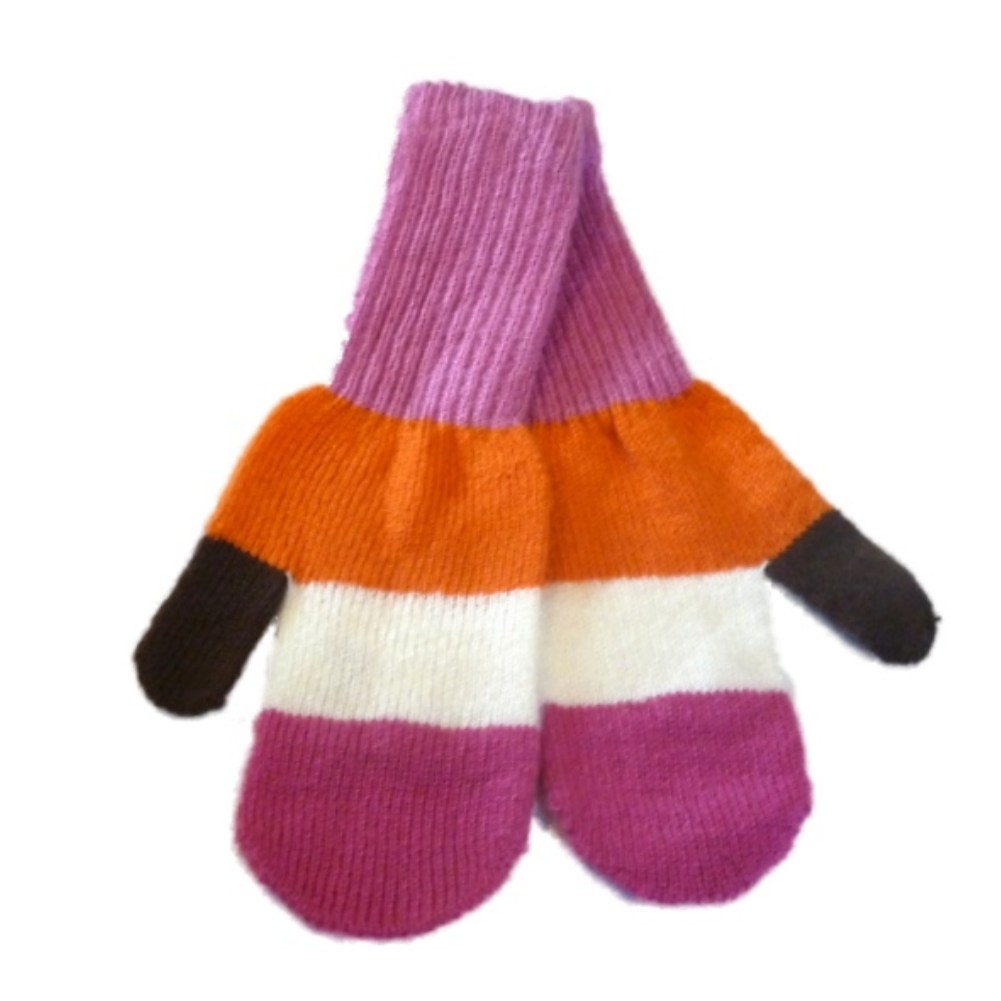 JCP Womens Pink & Orange Stripe Soft Knit Mittens