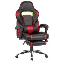 LANGRIA Gaming Chair, Racing Style Computer Gaming Chair with Footrest, 360-Degree Swivel, 175-Degree Reclining, Adjustable Seat Height, Lumbar Support for Home office Living Room