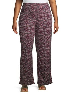 Rachel Rachel Women's Plus Size Wide Leg Printed Pull on Pant