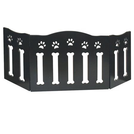 Folding Pet Gate - Wooden Paws and Bones Pet Dog Gate - Free Standing Tri-Fold - 19