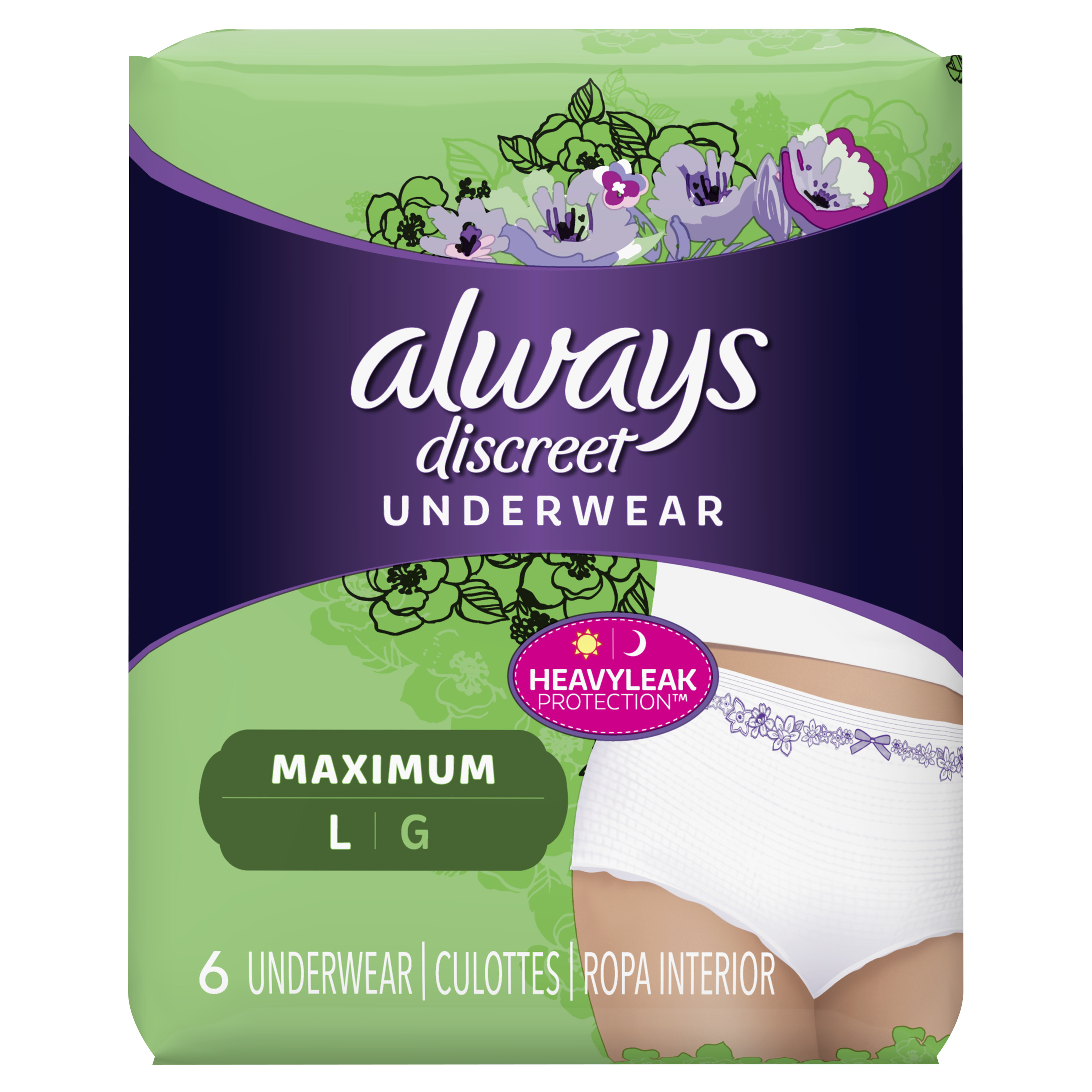 Always Discreet, Incontinence Underwear for Women, Maximum Protection, Large, 6 Count