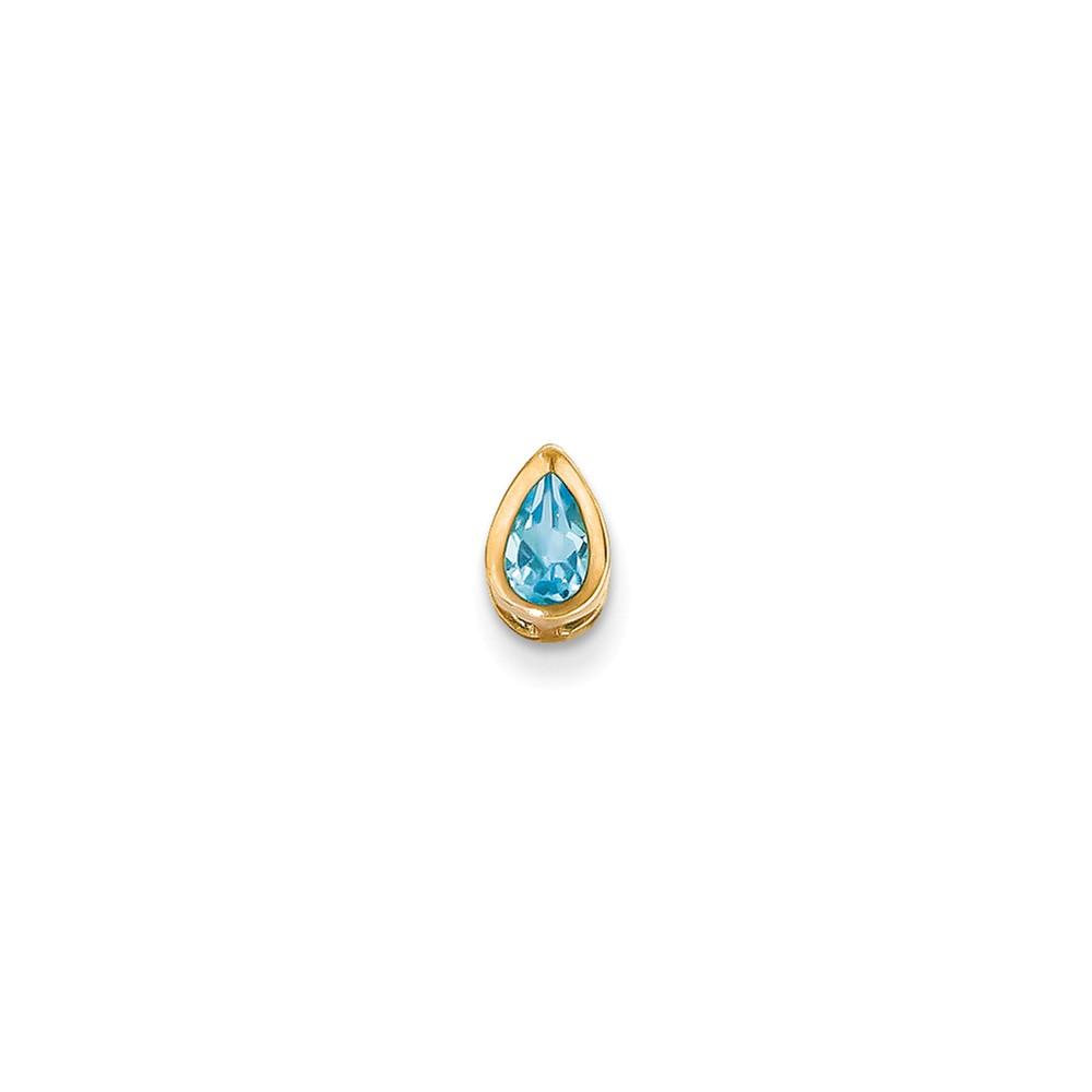 14k Yellow Gold 6x4mm Pear Blue Topaz bezel pendant-- Gem Wt- 0.5ct