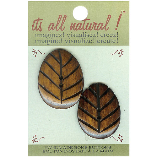 Vision Trims Handmade Bone Button-Natural - Oval Carved 2/Pkg Multi-Colored