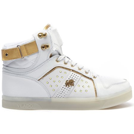 Vlado Footwear Lyte II Men's LED Light Hi Top Leather Sneakers IG5802-01 White