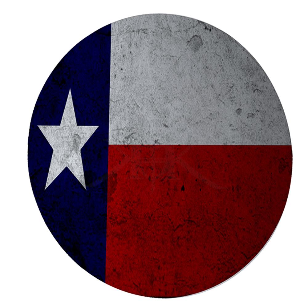 "KuzmarK 12"" Round Glass Cutting Board - Texas Flag Concrete Wall"
