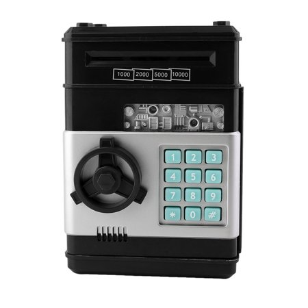 Kids Electronic Money Safe Box Password Saving Bank Atm For Coins And Bills Code Key Case System Money Saving Box Black