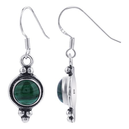 Gem Avenue 925 Sterling Silver Malachite French Ear wire Drop Earrings