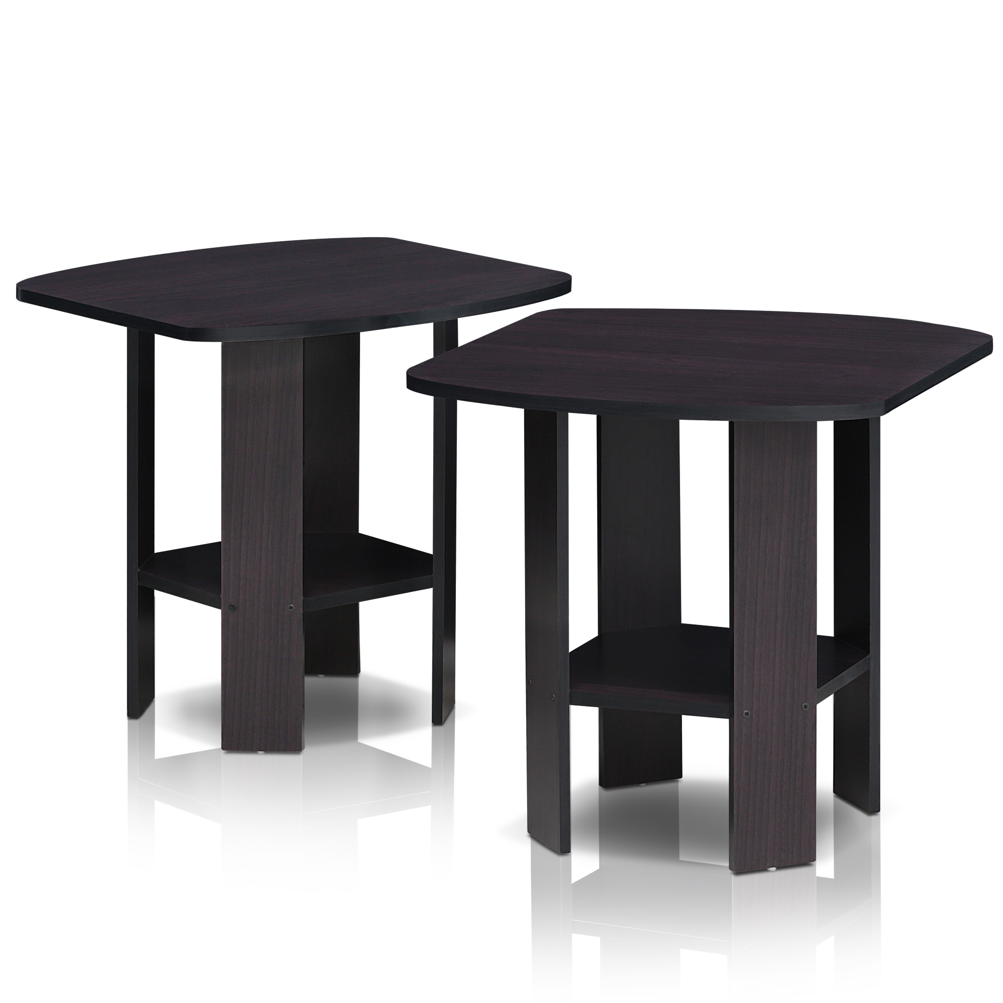 Furinno Simple Design End Table Set of Two, Espresso by Furinno