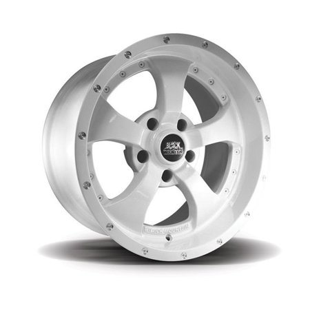 Blk Mountain B99-BM1709W3 17 x 9 in. 5 Spokes Two-Tone Alloy Wheel - White