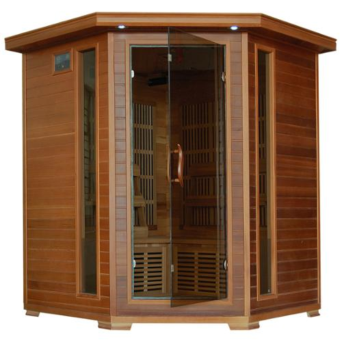 Blue Wave 4-person Cedar Corner Infrared Sauna with 10 Carbon Heaters by Overstock