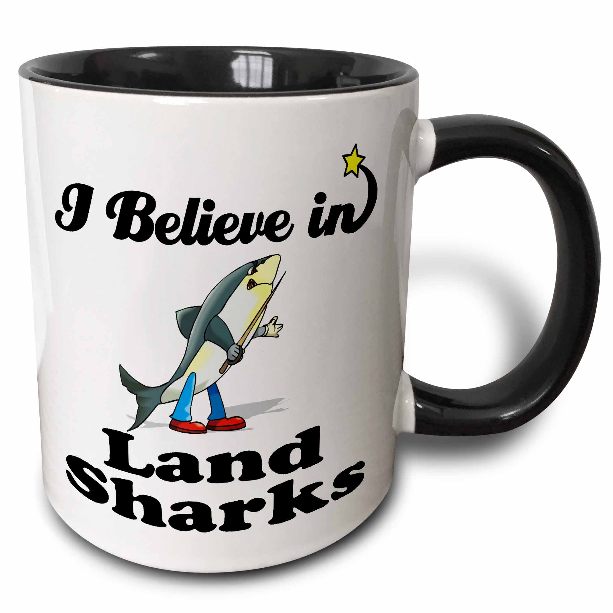 3dRose I Believe In Land Sharks, Two Tone Black Mug, 11oz