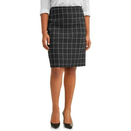 Lifestyle Attitudes Women's Plus Size Pull On Window Pane Pencil Skirt - Plus Size Hippie Skirts