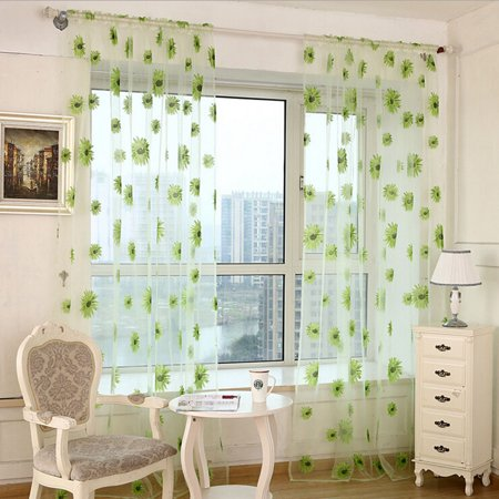 Justdolife Sunflower Window Breathable Curtain See Through Sheer Voile Drape for Balcony Living Room Curtain Window Screen ,Green, 2 Panels See Through Barrel