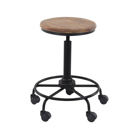 decmode rustic metal and wood round bar stool with wheels black. Black Bedroom Furniture Sets. Home Design Ideas