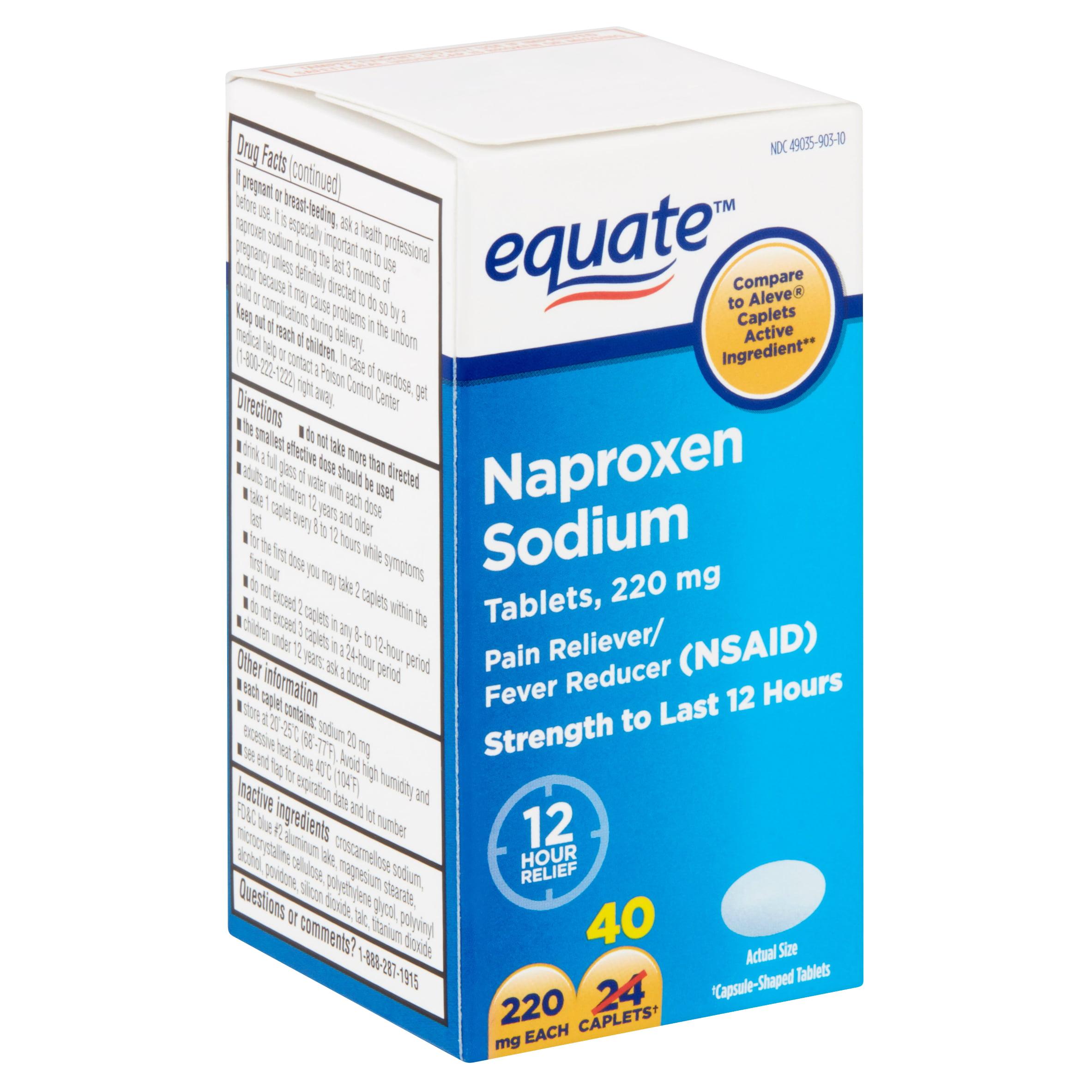 Equate Naproxen Sodium Caplets, 220 mg, 40 count