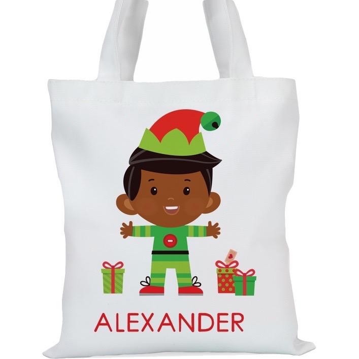 "Santa's Helper Boy Elf Custom Tote Bag , Small: 11"" x 11.75"" or Large: 14.5"" x 16"""
