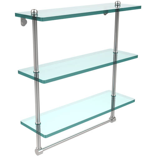 """16"""" Triple Tiered Glass Shelf with Integrated Towel Bar (Build to Order)"""