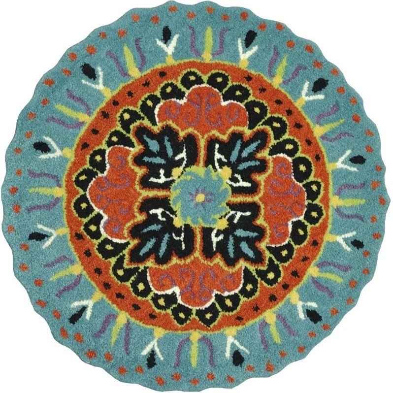 Loloi Gardenia 3' Round Hand Tufted Wool Rug in Teal and Black