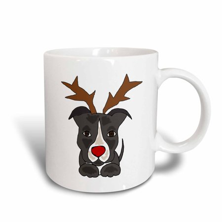 Red Pit Bull - 3dRose Funny Pitbull Dog Dressed as Rudolph Red Nosed Reindeer, Ceramic Mug, 15-ounce