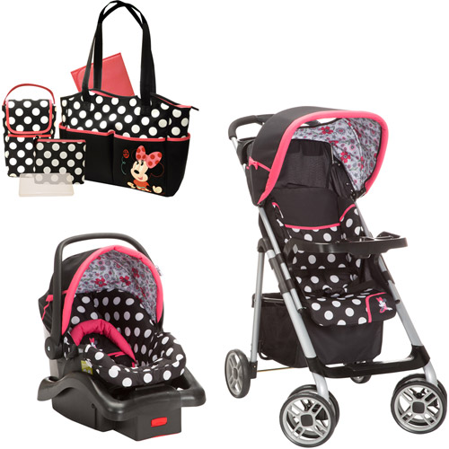 Disney Baby Minnie Mouse Coral Flowers Saunter Sport LC-22 Travel System with Bonus Minnie Diaper Bag