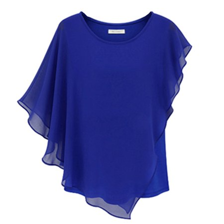 Chns Crew Loose Women Casual Chiffon Bat Sleeve T Shirt Top  Blouse
