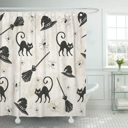 PKNMT Pattern Halloween Cats Brooms and Witch Hats Silhouette Black Shower Curtain 60x72 inches - Halloween Window Silhouette Patterns