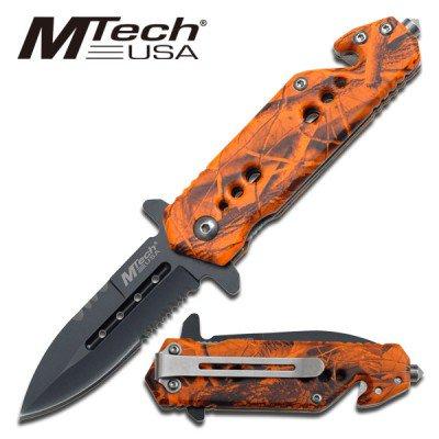 NEW! Mtech Orange Camo Half Serrated Rescue Knife w/ Belt Cutter & Glass Break