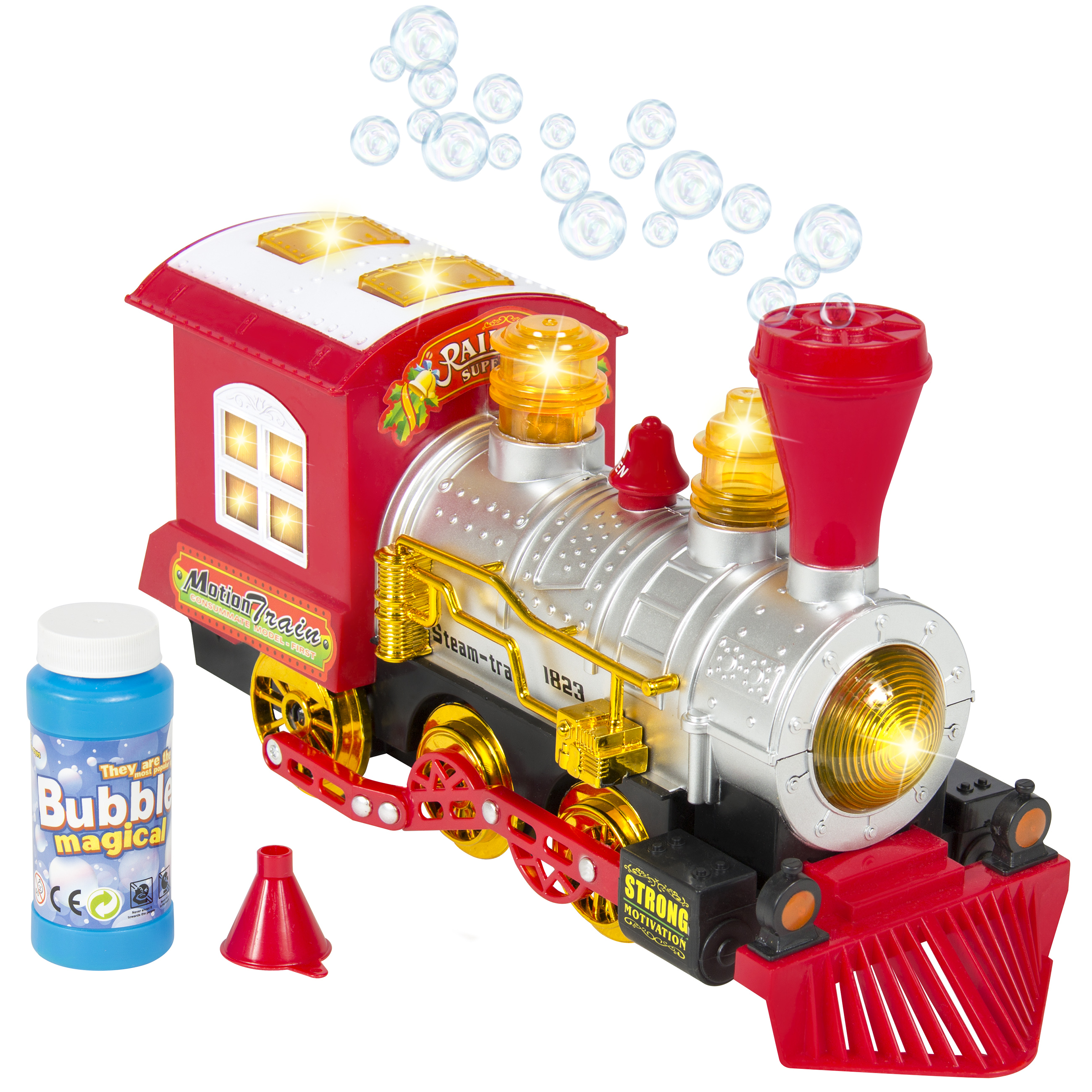 Best Choice Products Kids Toy Blowing Bubble Train Car Bump And Go Battery Operated w/ Music, Lights, Includes Bubbles