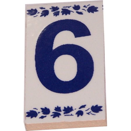 Numeral Six painted tile from Jerusalem - 3x1.5 Inches - Asfour Outlet Trademark