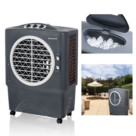 Honeywell 1062-1471 CFM Outdoor Portable Evaporative Cooler with Triple-Sided Honeycomb Cooling Pad, CO48PM,