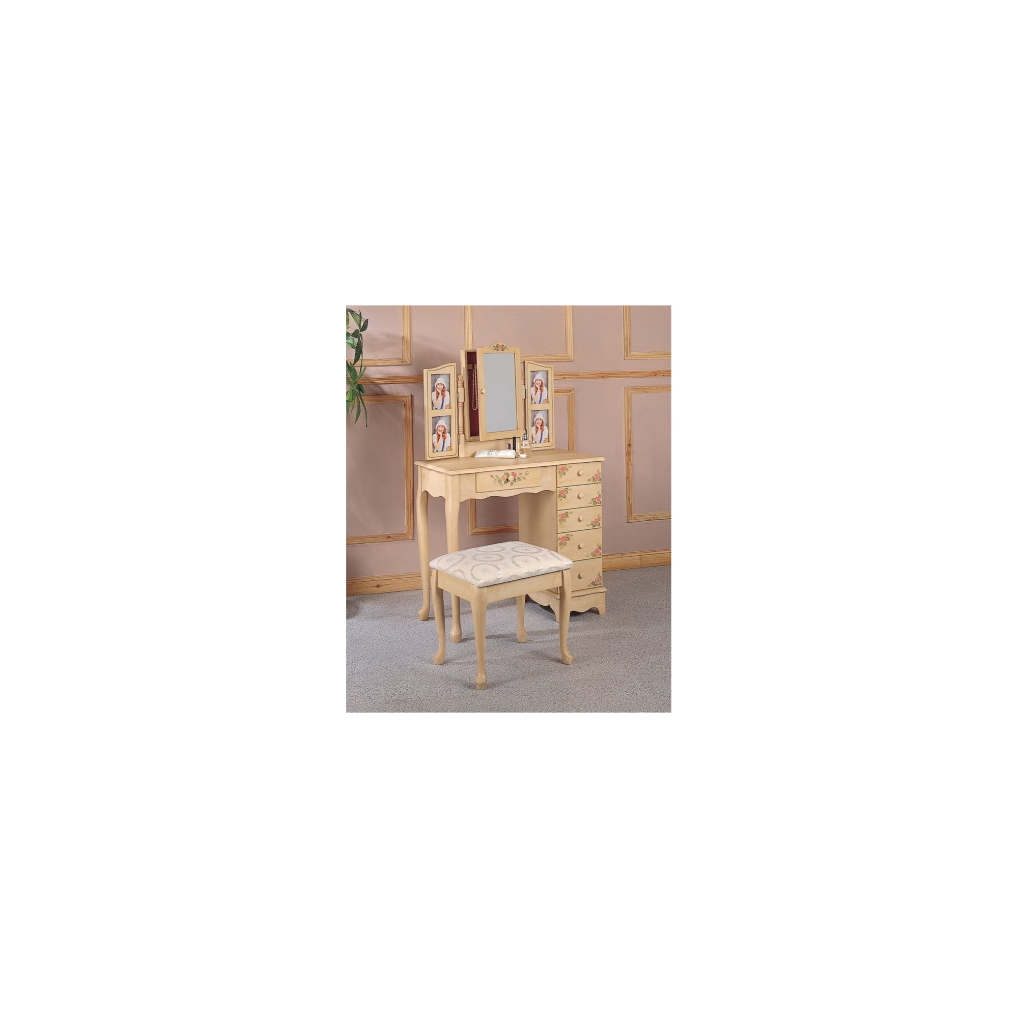 Awesome Coaster Hand Painted Wood Makeup Vanity Table Set With Mirror In Ivory Download Free Architecture Designs Jebrpmadebymaigaardcom