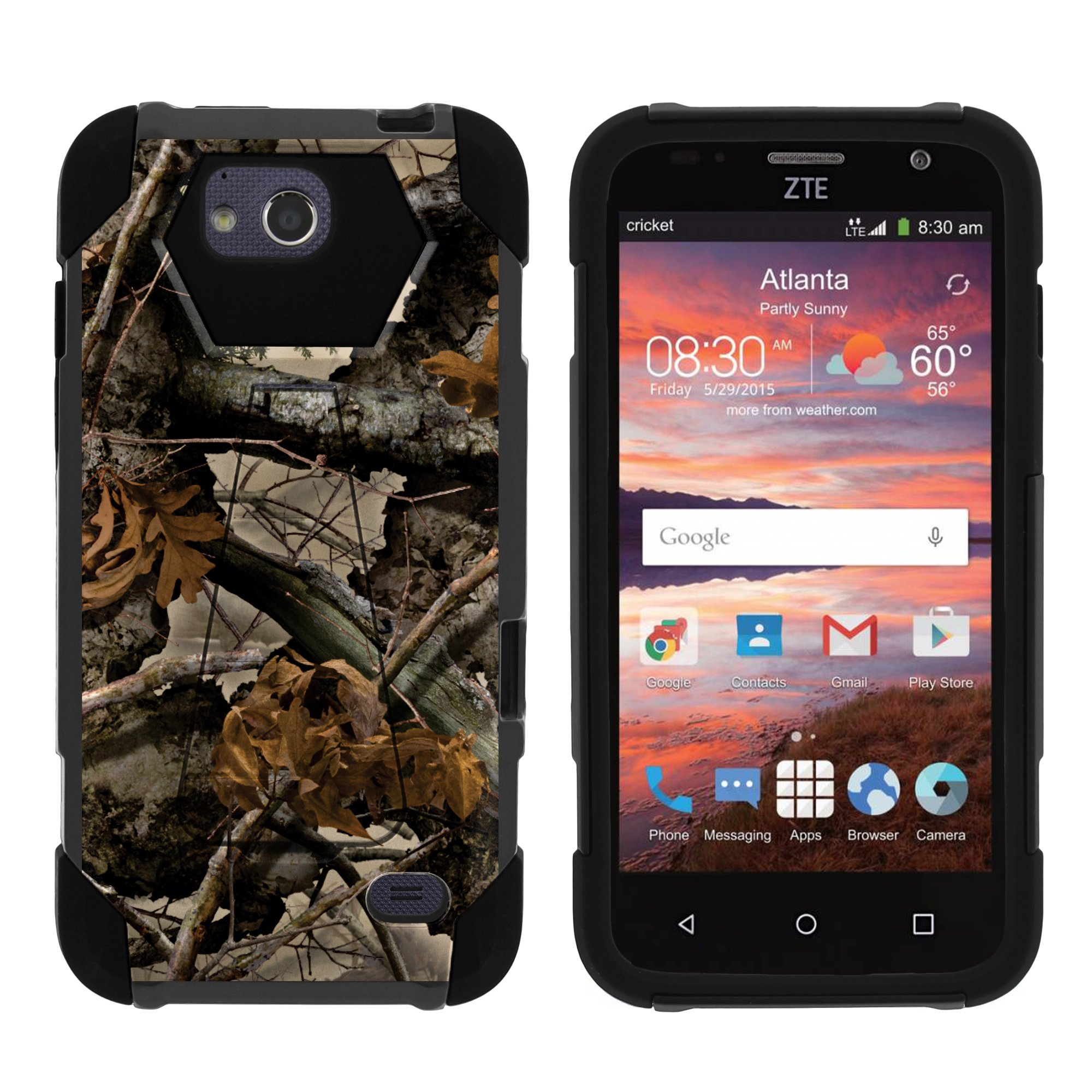 TurtleArmor ® | For ZTE Overture 2 | Atrium | Scend | Maven | Fanfare [Dynamic Shell] Dual Layer Hybrid Silicone Hard Shell Kickstand Case - Tree Leaves Camouflage