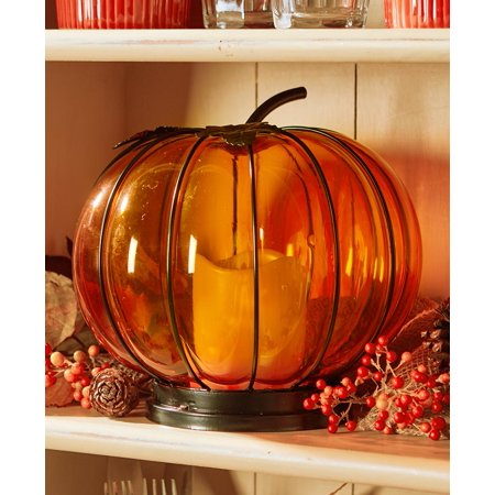 Lighted Glass Pumpkin Hurricane Lantern - ()