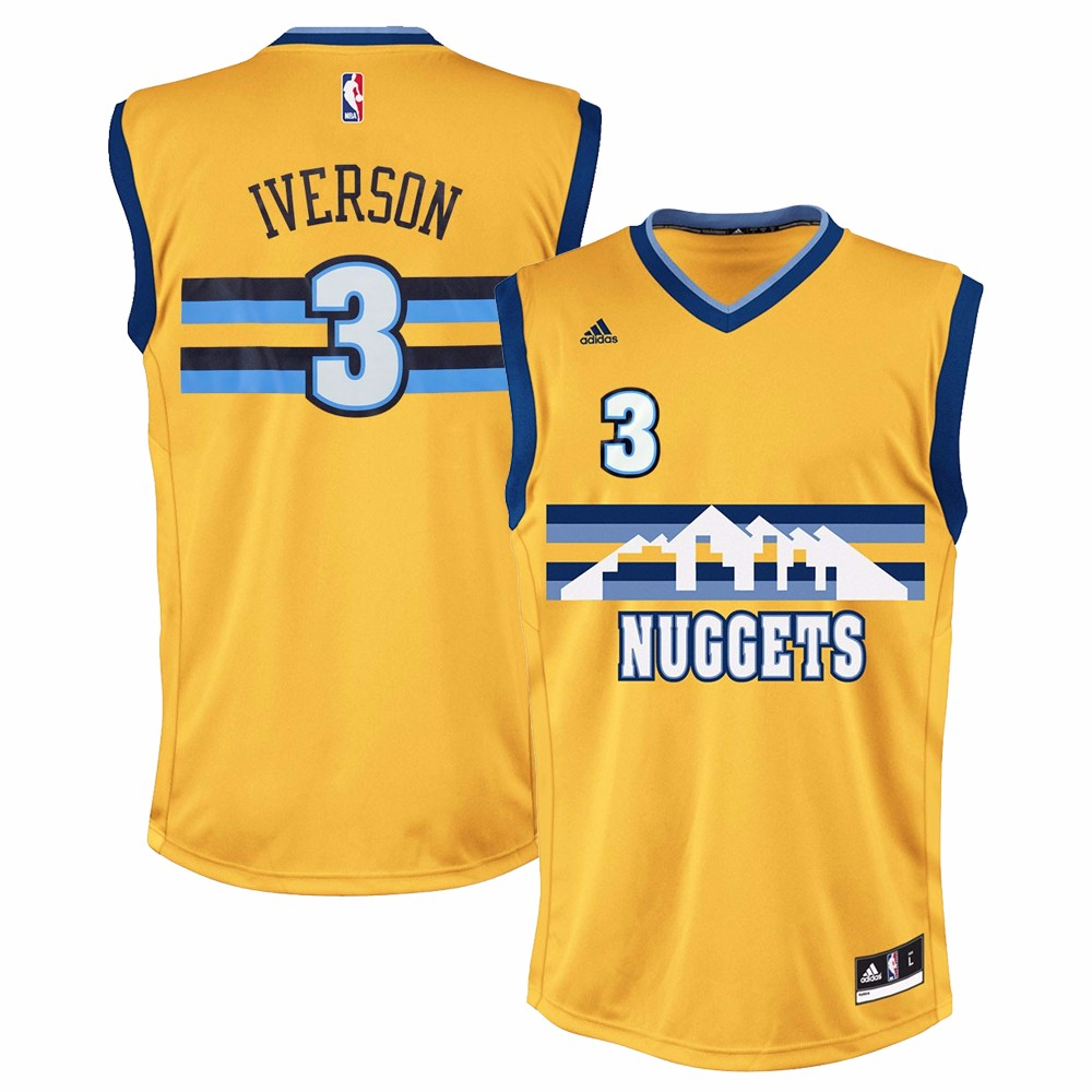 Allen Iverson Denver Nuggets NBA Adidas Men's Gold Replica Jersey by Adidas