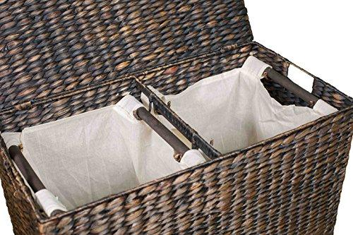 Wicker Laundry Basket with Lid BIRDROCK HOME Water Hyacinth Laundry Hamper Divided Interior Made of Hand Woven Hyacinth Fibers - Eco Friendly Includes Two Removable Cotton Liners Bag Natural