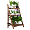 3 Tier Folding Wooden Flower Stand Plant Display Stand Nature Plant Shelf for Living Room Balcony Patio Yard Indoors & Outdoors
