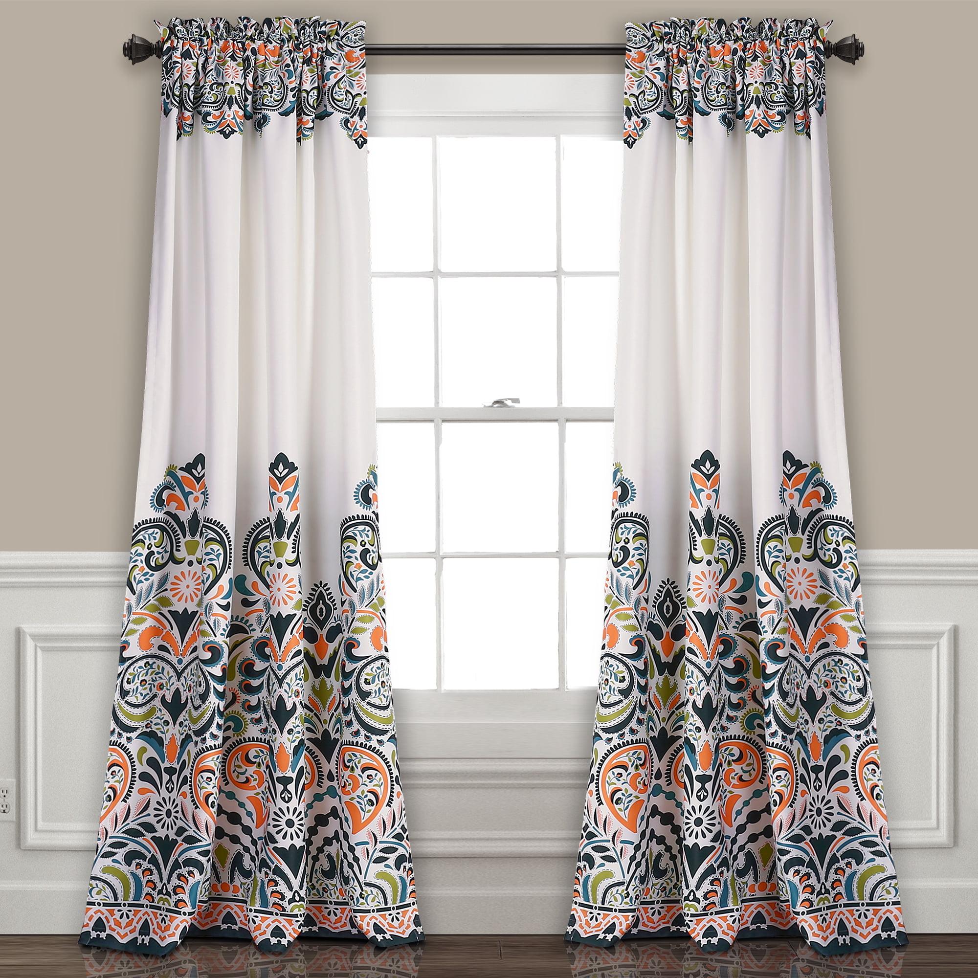 Picture of: Clara Room Darkening Window Curtain Navy Tangerine Set 52×84 2 Walmart Com Walmart Com
