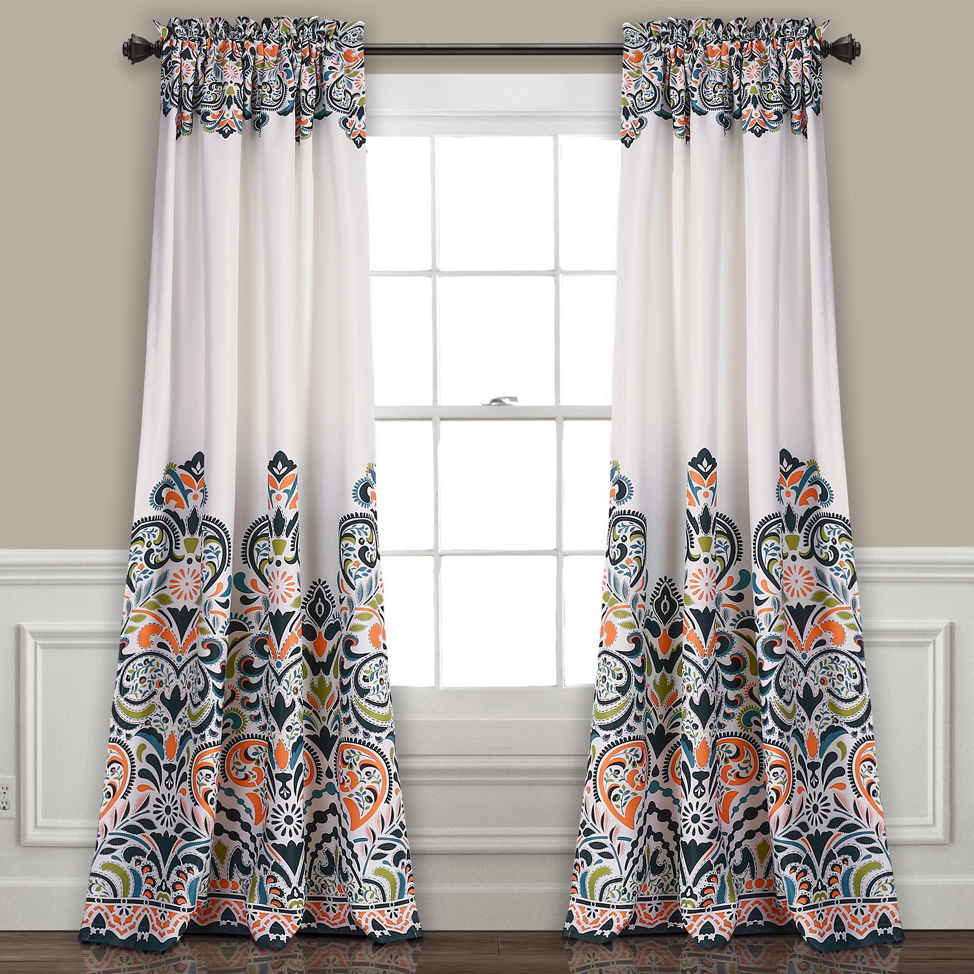 Clara Room Darkening Window Curtain Navy/Tangerine Set 52x84+2