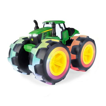 John Deere Monster Treads Deluxe Lightning Wheels Tractor, Light up oversized wheels change color as tractor rolls By TOMY ()