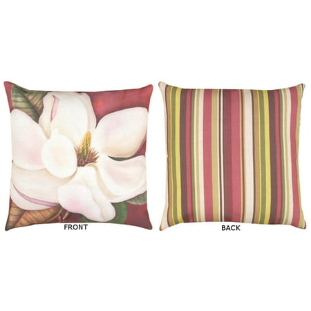 "20"" Reversible Outdoor Deck and Patio Steel Magnolia Floral Stripe Throw Pillow"