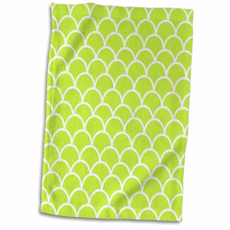 3dRose Lime green fish scale pattern - Japanese style fishscales - contemporary modern fishscale - Towel, 15 by 22-inch