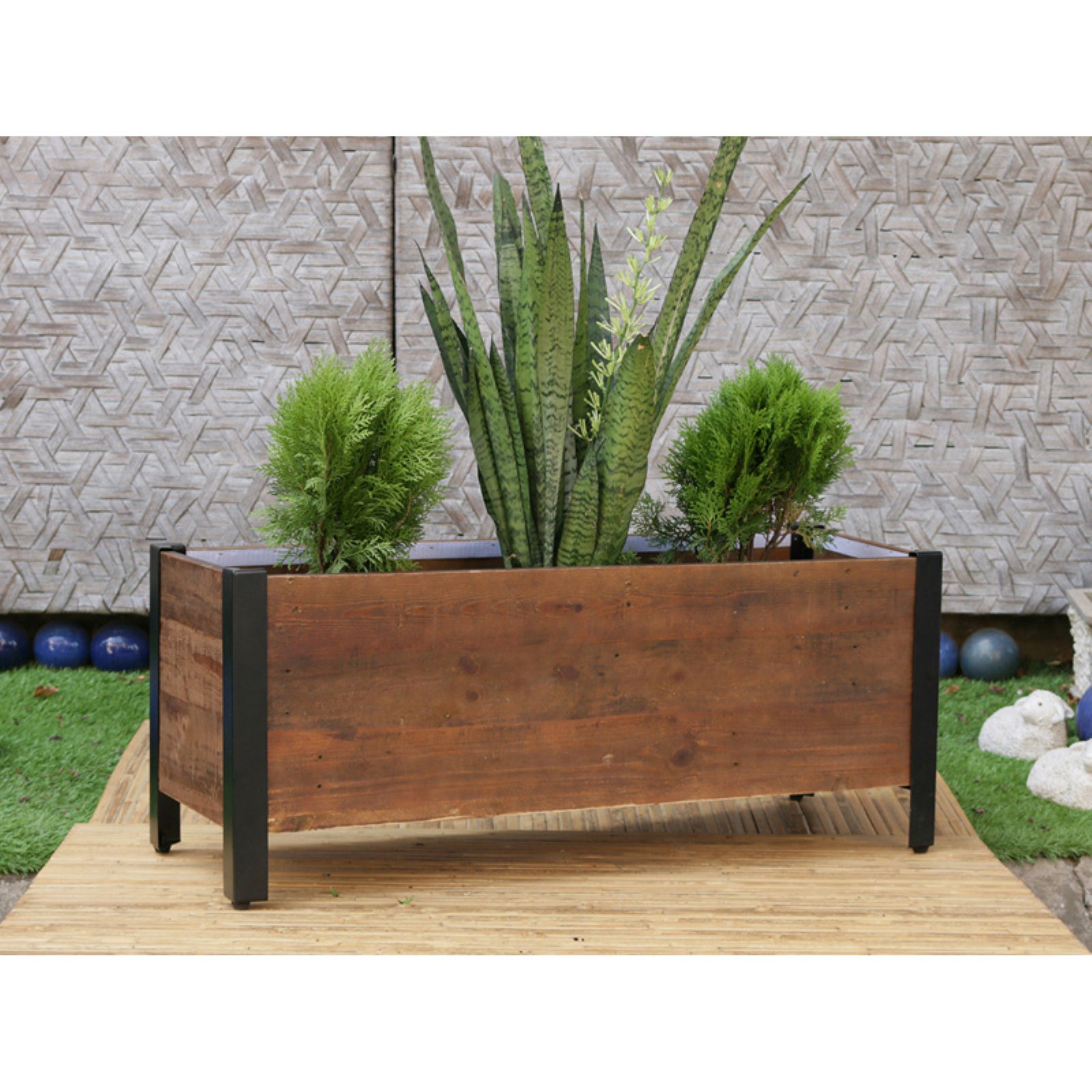 Grapevine Rectangular Urban Garden Wooden Planter Box by